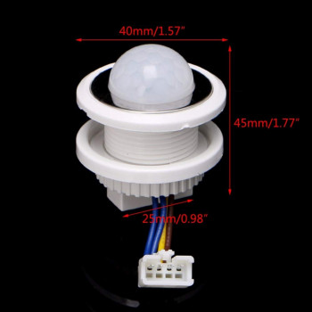 AC 220V PIR Motion Sensor-40mm LED PIR Detector Infrared Motion Sensor Switch with Time Delay Adjustable Imported From USA
