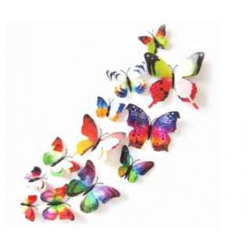 3D Double Layer Butterfly Wall Sticker-6 Pcs 6 Colors For Kid's Room, Fridge, Living Room, Magnet Decor Art Applique Imported From USA