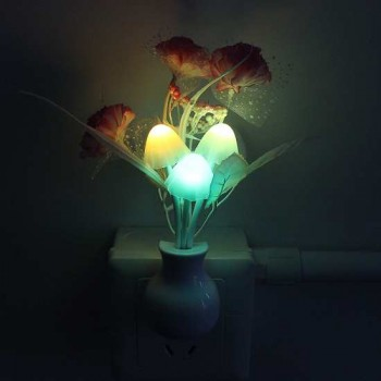 Mushroom Flower Plant Shape Night Light Lilac With Auto(Day-Night)Sensor-LED Wall Lamp,Colorful, Portable Energy Saving Light 220V,