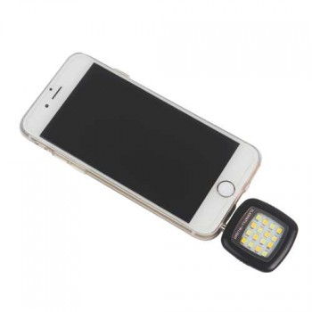 Portable Chargeable LED Flash Light With Adjustable Brightness for Smartphone IOS Android Portable 16 Leds 3.5mm