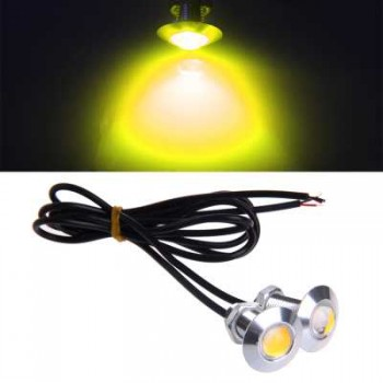 1 Pair DC 12V 23mm Eagle Eye LED Daytime Running Light-DRL Car Auto Lamp Yellow YAM -108,Imported From USA