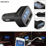 Dual USB Car Charger 4 in 1 Thermometer Digital Display Charging Cigarette Lighter Car Charger For All Mobile Phone M.No.Zerosky