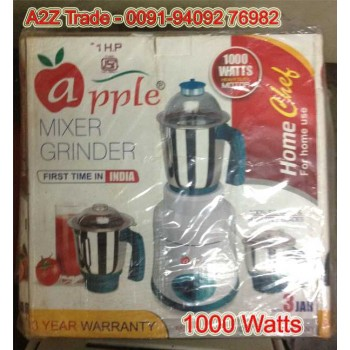 Apple-1HP, 1000-Watt Mixer Grinder with 3 Jars On Discount With Adjustable Slicer(Mrp Rs.799/-) Free,