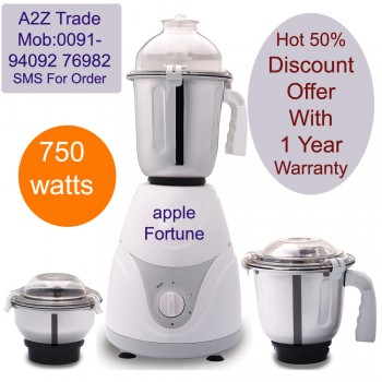 Apple-Desire, 750-Watt Mixer Grinder with 3 Jars On Discount With Adjustable Slicer(Mrp Rs.799/-) Free,
