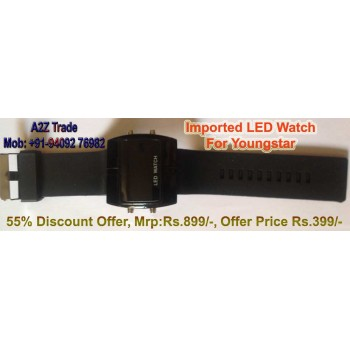 Black Dial Red LED Watch-Imported for Kid's, Men's On Discount, Imported