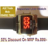 Stylish Digital LED Wrist Watch-Black,Red Led Watch Square Dial On Discount, Imported
