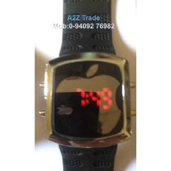 Stylish Digital LED Wrist Watch - Black, Red Led Watch Apple Shaped On Discount, Imported