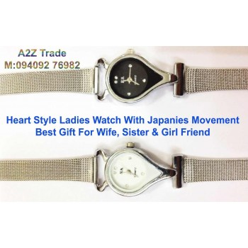 White Or Black, Heart Shaped Ladies Stylish Wrist Watch-RK On 50 % Off, Imported,