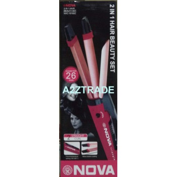 NOVA 2 IN 1 Hair Beauty Set Professional Hair Straightener+Bi-feather King's