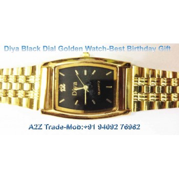 Diya Black Dial Golden Straps Watch For Trendy Look On 50 % Discount,