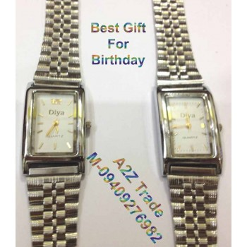 Diya Steel Square White Dial Steel Strap Unisex Watch For Trendy Look On 50 % Discount,