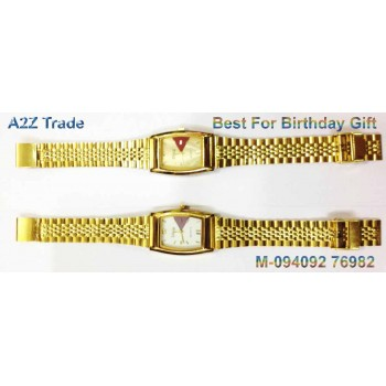 Diya White Or Ivory Dial Golden Straps Watch For Trendy Look On 50 % Discount,