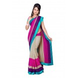Fabdeal Cream & Pink Colored Lining Chiffon Printed Saree On 50% Off, SKU-RIXSR477AAL