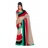 Fabdeal Cream & Red Colored Lining Chiffon Printed Saree