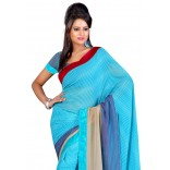 Fabdeal Light Blue Colored Lining Chiffon Printed Saree