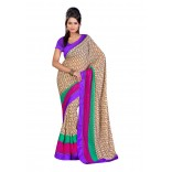 Fabdeal Cream & Purple Colored Chex Chiffon Printed Saree