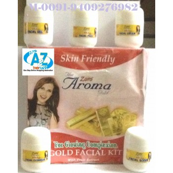Gold Aroma Facial Kit-Zoro- For Glowing Complexion, Buy 1 Get 1 Free, MRP:1990.00 On 35% Discount, Offer Price Rs.1049.00