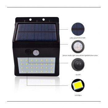 28 LEDS Solar Motion Sensor Light Super Bright Waterproof With Detachable Solar Panel,