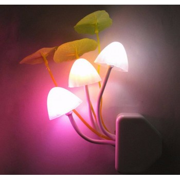Novelty Mushroom Fungus Night Light With Auto(Day-Night) Sensor-LED Wall Socket Lamp,Colorful, Small,