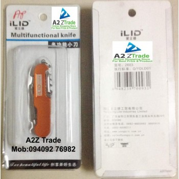 5 in 1 Multi Functional Swiss Pocket Army Knife-ILID-Orange Colour-Imported At Rs.349 Only