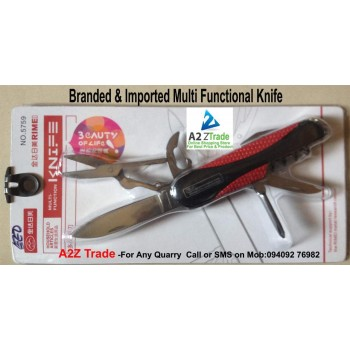 Multi Knife-Rime, Swiss Army Knife - Red & Black Color With Key Chain, 55% Discounted Rate, MRP-Rs.699/- SEEN ON TV Rs.899/-