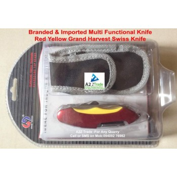 12 in 1 Multi Functional Army Knife-Red-Yellow Colour-Grand Harvest-Imported