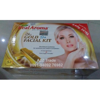 Real Aroma 24 ct. Gold Spa Facial Kit with Active Oxygen, 5 in 1 Facial Kit, GOLD FACIAL KIT, With Oxygen Kit Free