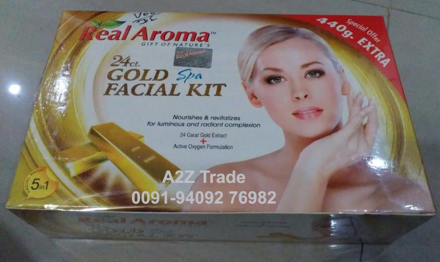 Real Aroma 24 ct  Gold Spa Facial Kit with Active Oxygen, 5 in 1 Facial  Kit, GOLD FACIAL KIT, With Oxygen Kit Free